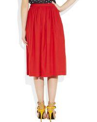 Giulietta Red Silkcady Midi Skirt