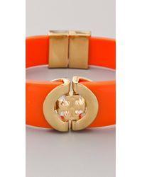 Tory Burch | Orange Logo Hinge Bracelet | Lyst