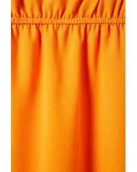 TOPSHOP - Orange Gathered Waist Dip Hem Dress - Lyst
