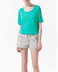 Zara   Blue Open Back T-shirt   Lyst