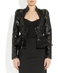 Alexander McQueen   Black Lasercut Patent Leather and Lace Jacket   Lyst