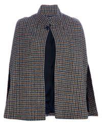 A.P.C. Gray Check Tweed Cape