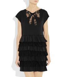 Miu Miu Lace And Silk Tiered Cotton Jersey Dress In Black