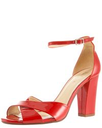 90d1883d0d18 Lyst - Kate Spade Isabel Crisscross Patent Sandal in Red