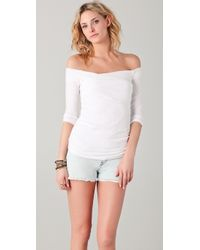 James Perse White Off Shoulder Top