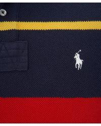 Polo Ralph Lauren Blue Stripe Mesh Polo Shirt for men