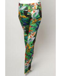 Altuzarra Green Parrot Print Wide Leg Trouser