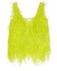 Oscar de la Renta | Yellow Feathered Silk Top | Lyst