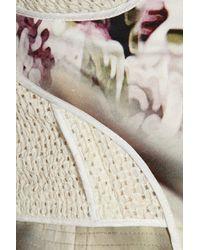 Vera Wang White Eyelet Stretchsilk and Printed Crepe Peplum Top