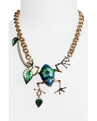 Betsey Johnson | Multicolor Rio Frog Leaf Statement Necklace | Lyst