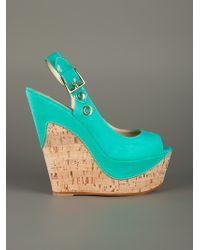 Gianmarco Lorenzi Green Wedge Sandal