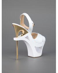 Gianmarco Lorenzi White Structured Platform Sandal