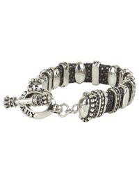 King Baby Studio | Metallic Black Stingray Bracelet with 11 Silver Links for Men | Lyst