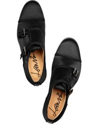 Lanvin Black Buckled Satin Monk-strap Shoes