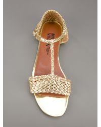 Michel Vivien Metallic Woven Sandal