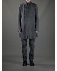 Poeme Bohemien Gray Cotton Long Coat for men