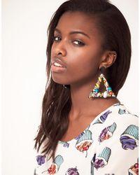 ASOS | Multicolor Jewelled Triangle Doorknocker Earrings | Lyst