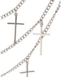 ASOS   Metallic Multi Row Cross Necklace   Lyst