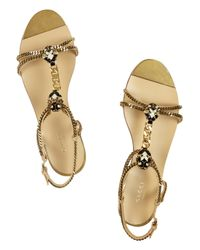Gucci | Metallic Embellished Chain and Leather Sandals | Lyst