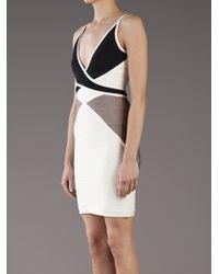 Hervé Léger   Black Ines Colorblock Dress   Lyst
