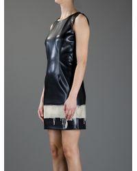 Moschino Black Dripping Paint Print Dress