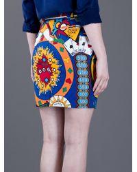 Moschino Blue Printed Pencil Skirt