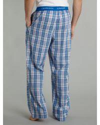 Calvin Klein Blue Eric Woven Eric Check Cotton Pyjama Bottoms for men