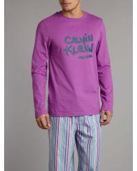 Calvin Klein Pink Printed Logo Long Sleeve T-shirt for men