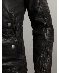DIESEL Black Leather Biker Jacket for men