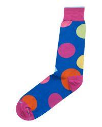 Duchamp Blue Socks with Giant Spot Detail for men
