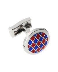 Tm Lewin Red Blue Chunky Diamond Cufflinks for men
