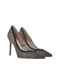 Valentino | Net Pumps with Black Leather Embroidery and Swarovski Crystals | Lyst