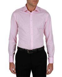 Alexandre Savile Row Pink Jacquard Regular Fit Shirt for men