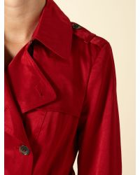 Andrew Marc Red Double Breasted Frill Hem Trench