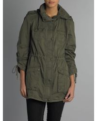 Andrew Marc Green Sonar Washed Cotton Ruched Sleeve Parka