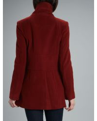Andrew Marc Red Gabby Wool Funnel Neck Coat