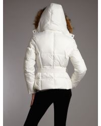 Andrew Marc White Motive Belted Faux Fur Hooded Jacket