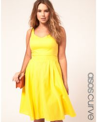 ASOS Yellow Asos Curve Midi Summer Dress
