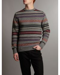 Barbour Gray Caister Fair Isle Crew Sweater for men