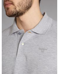 Barbour Gray Fish Button Polo Shirt for men