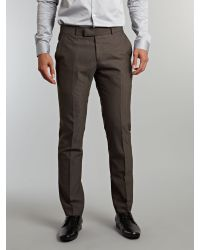 Ben Sherman Brown Plain Camden Fit Suit Trousers for men