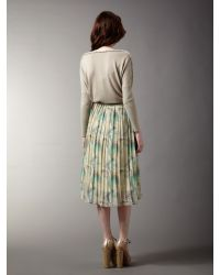 Biba Gray Feather Printed Pleated Midi Skirt