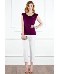 Coast Purple Fenella Bow Jersey Top