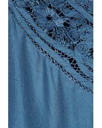 Day Birger et Mikkelsen Blue Sarah Embroidered Silk Top