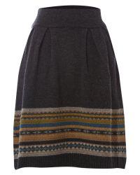 Dickins & Jones Gray Skirt Knitted Fairisle
