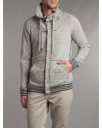 DIESEL Gray Button Up Striped Funnel Neck Sweater for men
