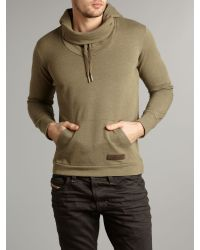 DIESEL Green Hooded Sweat for men