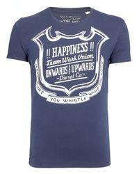 DIESEL Blue Tgolden Shield Print Short Sleeve Tshirt Navy for men