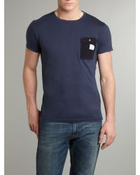 DIESEL Blue Mens Crew Neck 1 Pocket Tshirt for men