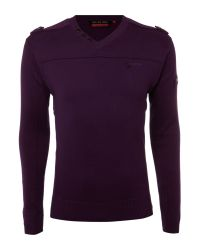 Duck and Cover Purple Button Vneck Jumper for men